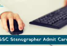 SSC Stenographer Admit Card 2018