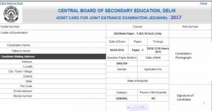 Jee main admit card specimen 2016