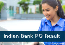 indian bank po result 2019