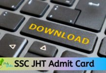 SSC JHT Admit CArd 2020