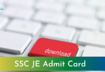 SSC JE Admit Card 2021
