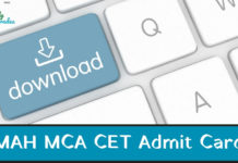 MAH MCA CET Admit Card 2019
