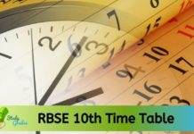 Rajasthan Board 10th Time Table 2020