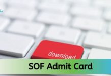 SOF Admit card 2020